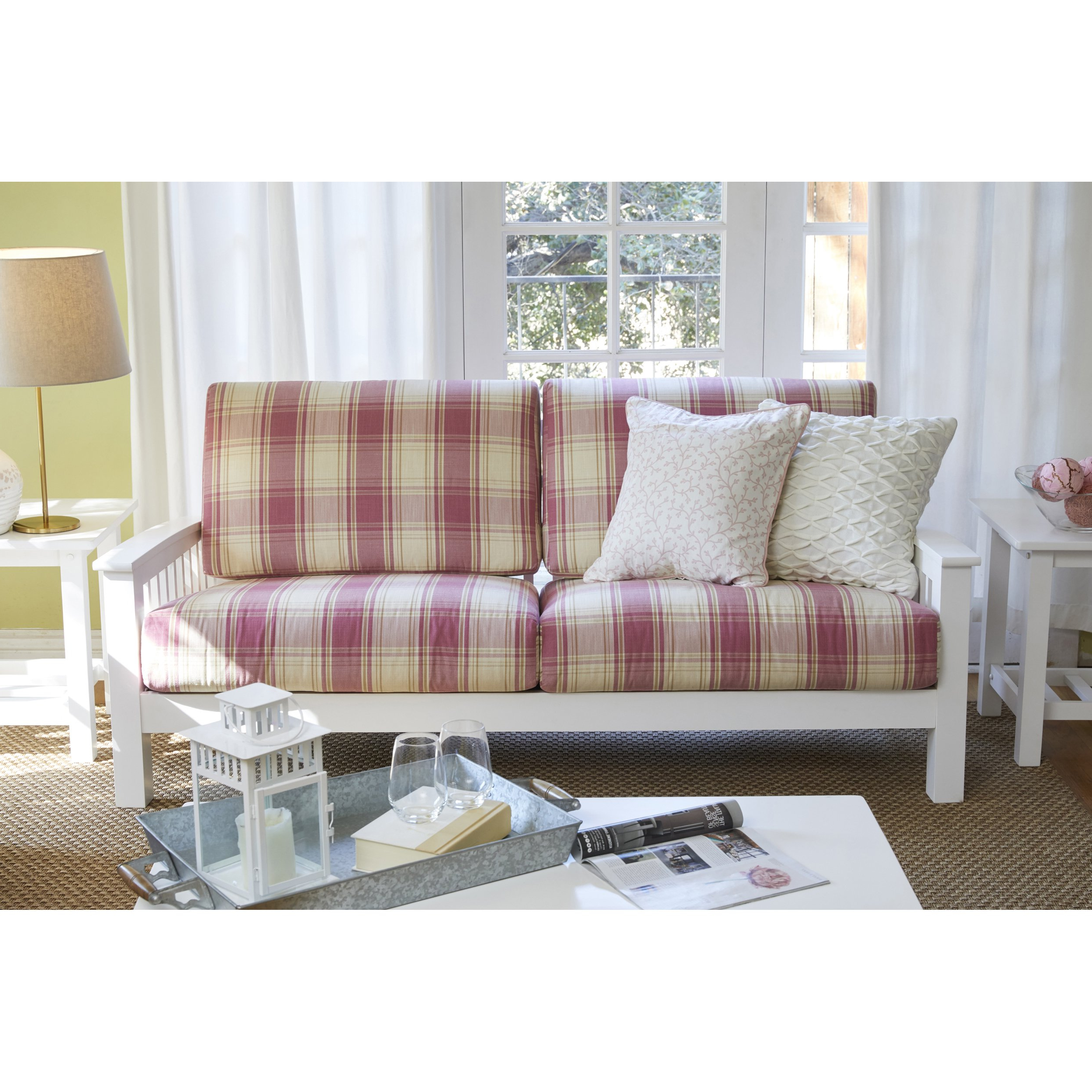 Plaids sofa Thdr Shop Handy Living Omaha Pink Plaid Mission Style sofa with Exposed