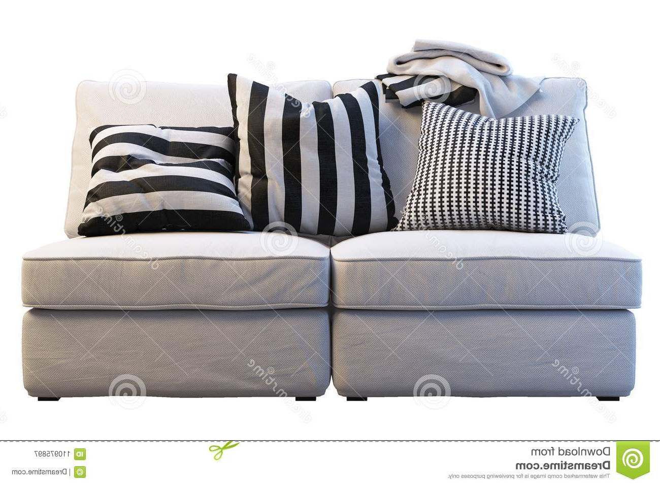 Plaids sofa U3dh Ikea Kivik sofa with Plaids and Pillows Stock Image Image Of