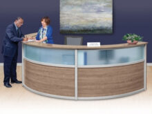 Reception Desk E9dx Pass Laminate and Glass Triple Reception Desk 142w X 72d