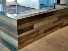 Reception Desk Qwdq Hand Made Contemporary Reclaimed Wood and Steel Reception Desk by Re