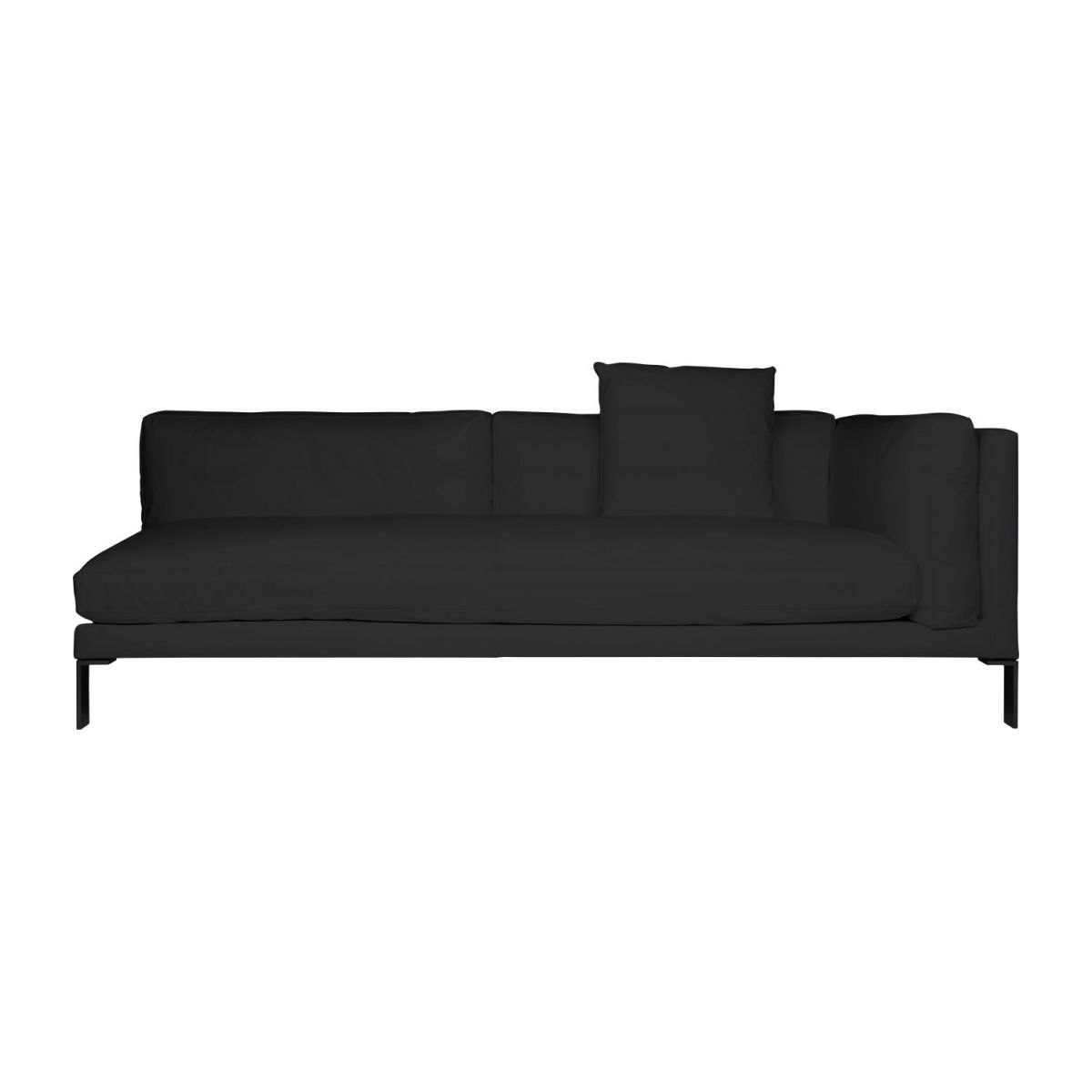 Reposabrazos sofa D0dg Newman sofà 3 Plazas De Piel Negro Con Reposabrazos Izquierdo
