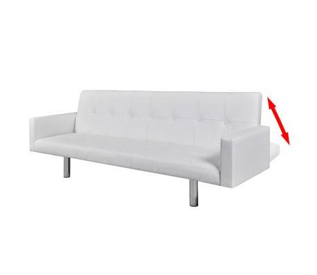 Reposabrazos sofa S1du Vidaxl sofà Cama Con Reposabrazos De Cuero Artificial Blanco Vidaxl