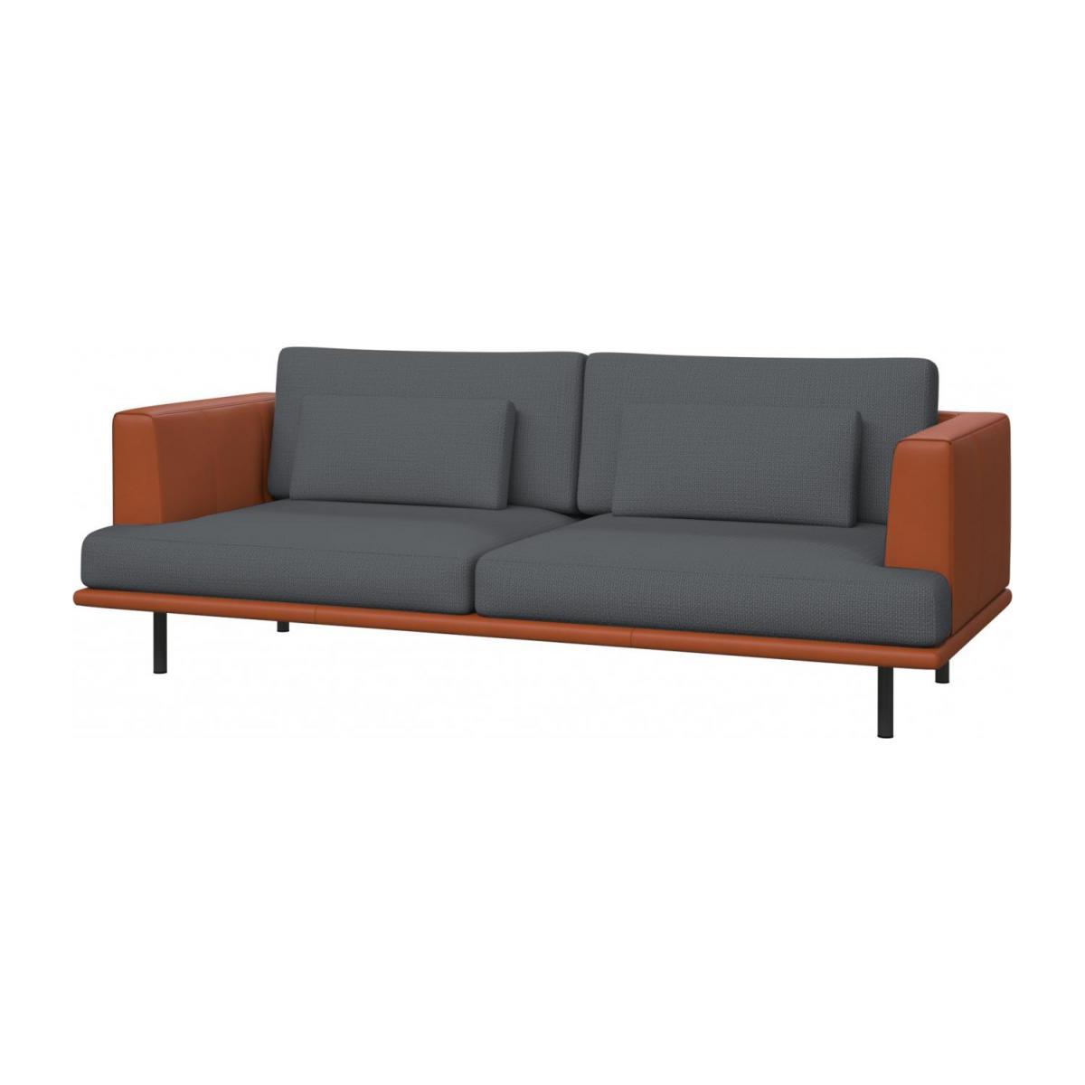 Reposabrazos sofa S5d8 Baci sofà 3 Plazas Tela Gris Base Y Reposabrazos Piel Habitat