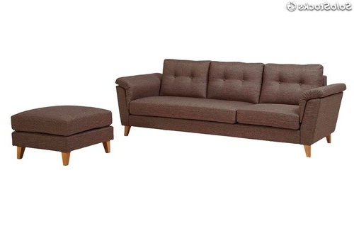 Reposapies sofa Wddj sofa 3 Plazas nordico Vintage Con Reposapies Tela Marron