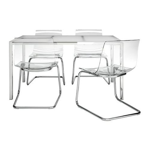 Silla tobias Ikea 8ydm torsby tobias Mesa Con 4 Sillas Blanco Transparente 135 Cm Ikea