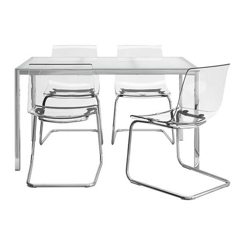 Silla tobias Ikea 9fdy torsby tobias Mesa Con 4 Sillas Vidrio Blanco Transparente 135 Cm Ikea