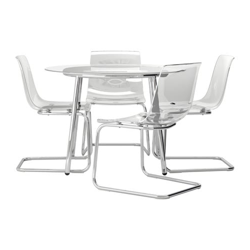 Silla tobias Ikea Kvdd Salmi tobias Mesa Con 4 Sillas Vidrio Transparente 105 Cm Ikea
