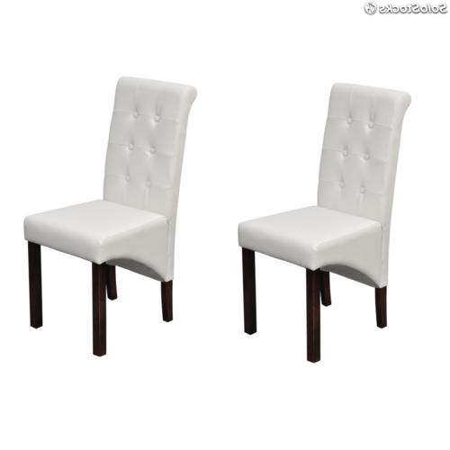 Sillas Clasicas De Comedor Budm Set De 2 Sillas Clà Sicas De Edor De Cuero Color Blanco
