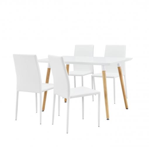Sillas De Cocina Carrefour Zwdg Ensa Mesa Con 4 Sillas Blanco 120x70cm Mesa De Cocina