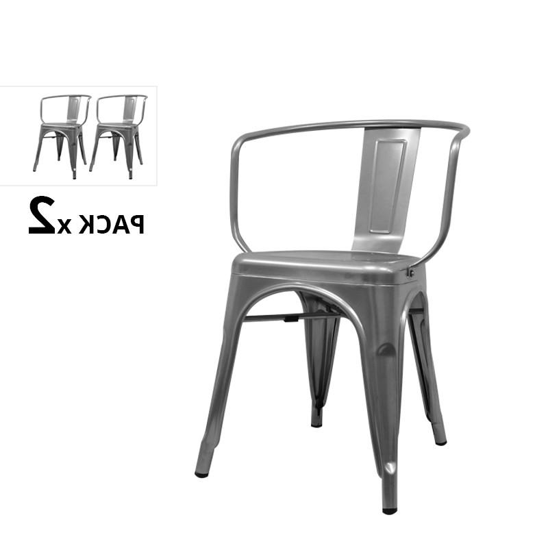 Sillas Industriales Ffdn Pack De 2 Sillas Industriales Con Brazos tolix Gris Metalizado