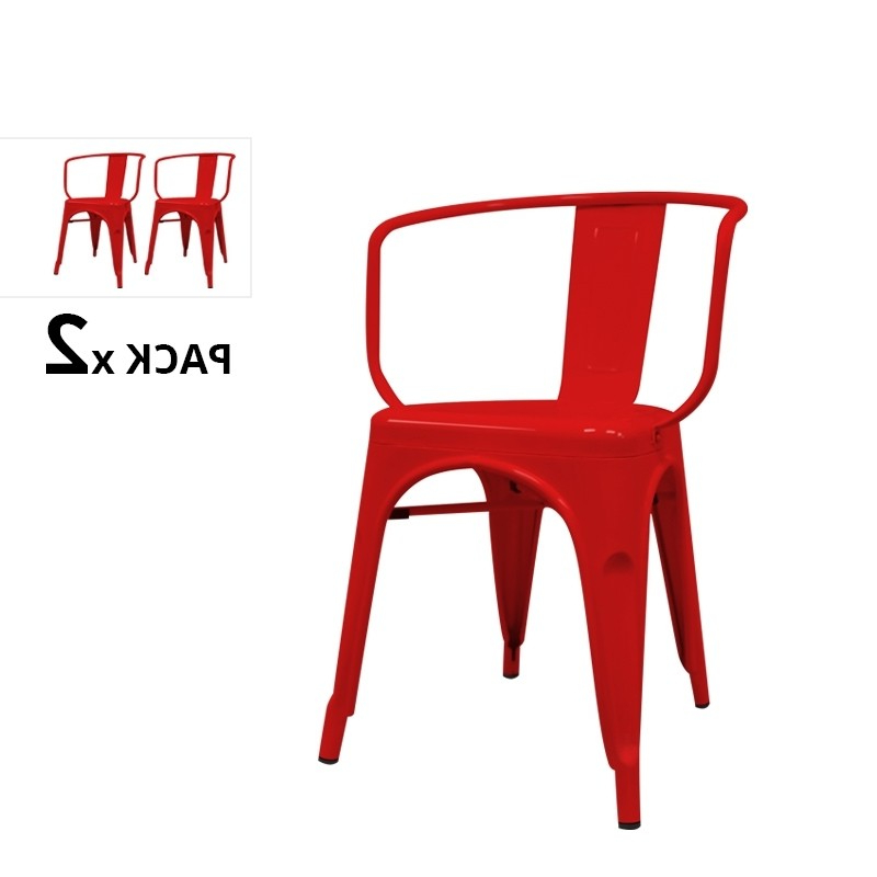 Sillas Industriales X8d1 Pack De 2 Sillas Industriales Con Brazos tolix Rojas