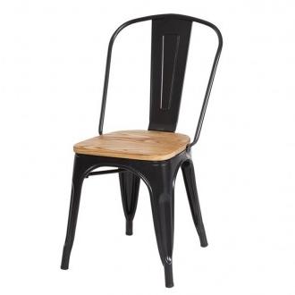 Sillas Metal Qwdq Silla A Brassy tolix En Metal Negro Y asiento Madera Brillante