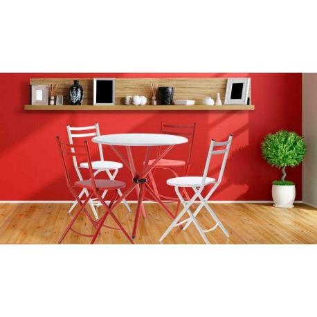 Sillas Rojas 4pde Conjunto Cocina Laia Mesa 4 Sillas Rojas Y Blancas