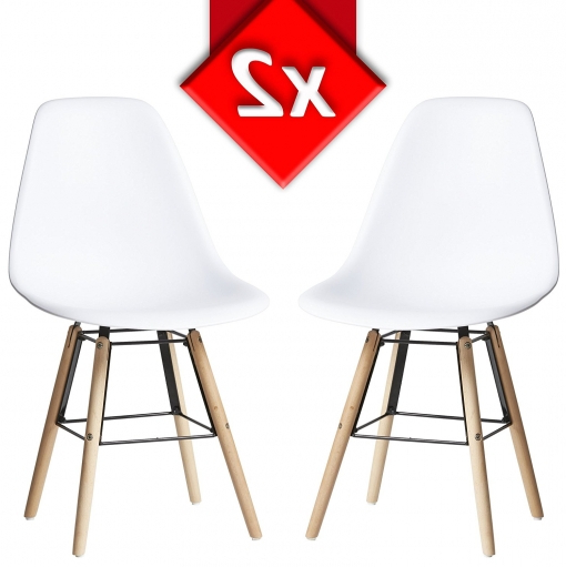 Sillas tower 0gdr Pack 2 Sillas tower Halley Blanco Silla Eames Blanco Y Madera De