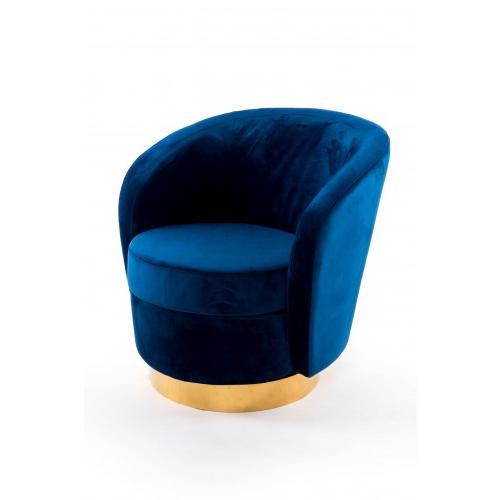 Sillon Giratorio Ipdd Sillà N Giratorio Tapizado Velvet Azul Marino Con Detalles Dorados