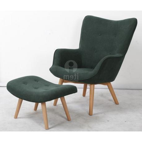 Sillon Verde Whdr Sillon Con Puff Reposapies Descalzadora butaca Mecedora orejero sofa