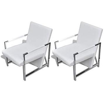 Sillones Modernos Q5df Vidaxl 2x Sillones Modernos Con Patas Cromadas Tapizado Blanco