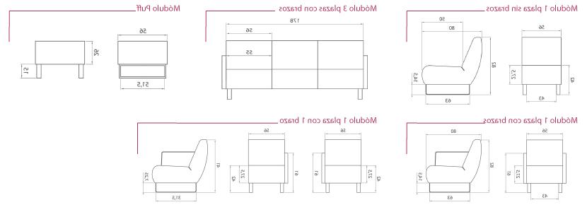 Sofa 3 Plazas Medidas Fmdf sofà Serie Tempo De 1 2 Y 3 Plazas Y Puff Para Sala De Espera La