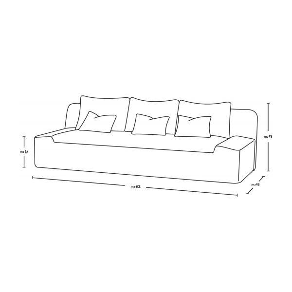 Sofa 3 Plazas Medidas S1du Kasha sofas 3 Seat sofa Brown Fabric Habitat