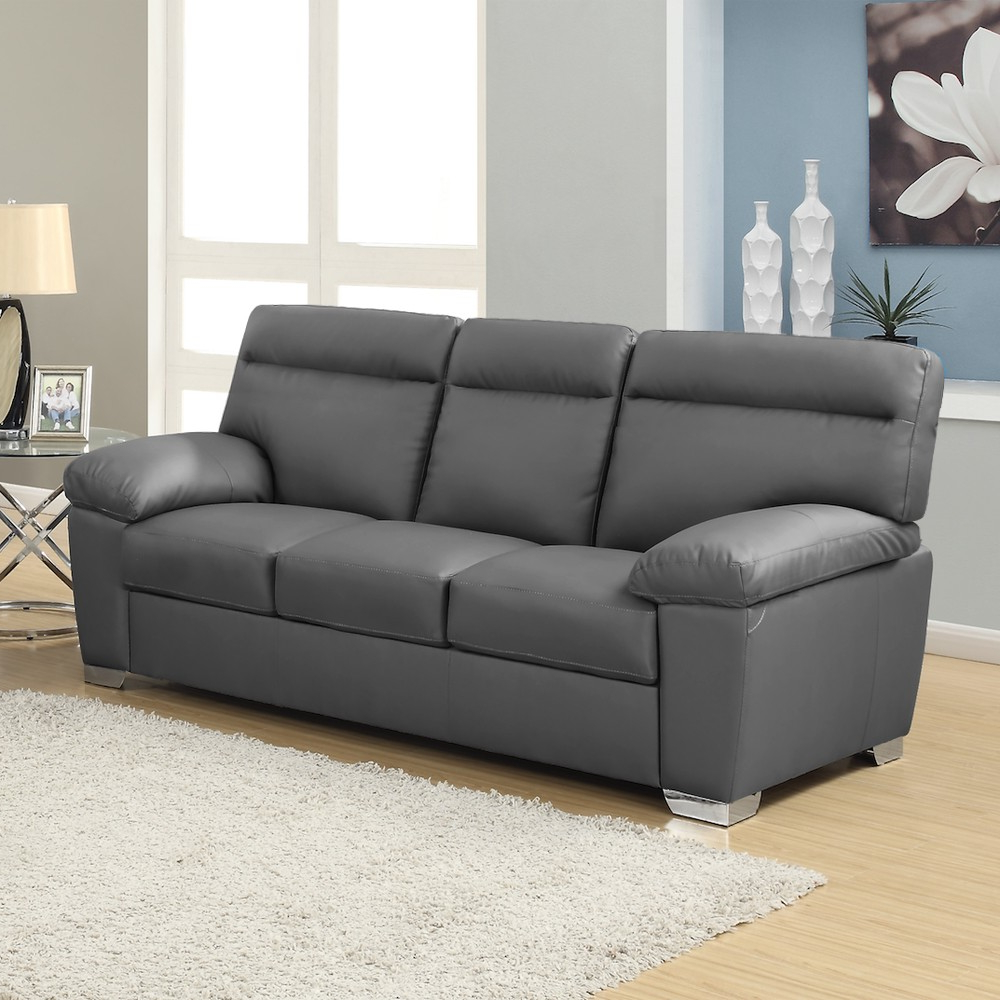 Sofa Alto S5d8 Alto Italian Inspired High Back Leather sofa Collection In Dark Grey
