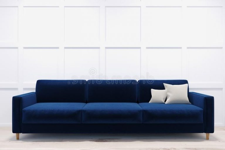 Sofa Azul Marino 3id6 Eccellente sofa Azul Marino sof En Un Cuarto Blanco Stock De Ilustraci N