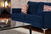 Sofa Azul Marino Nkde Sala andrea Sala Tapizado En Suede Color Azul Marino Consta De