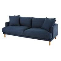 Sofa Azul Marino T8dj sofà De 3 Plazas De Algodà N Y Lino Azul Marino Raoul Maisons Du Monde