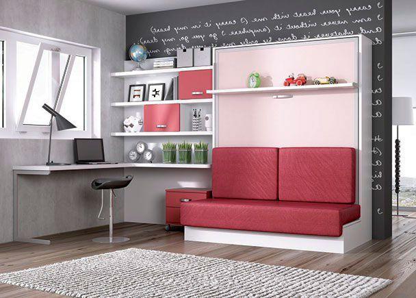 Sofa Cama Abatible Vertical E6d5 Juvenil Abatible Vertical Con sofa Y Zona Estudio Decoracion Hogar