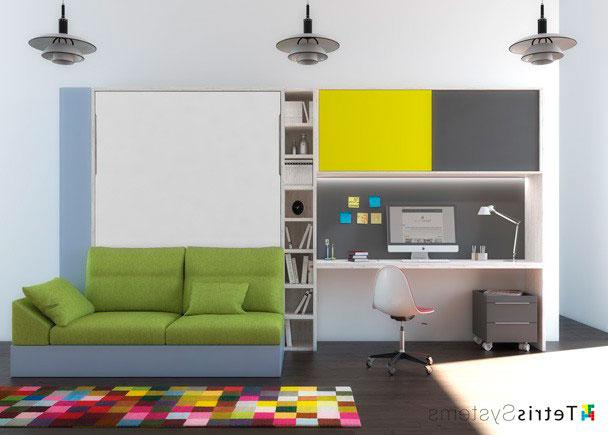 Sofa Cama Abatible Vertical E9dx Dormitorio Con Cama Abatible Vertical Con sofà Elmenut