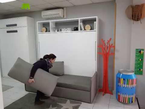 Sofa Cama Abatible Vertical Mndw Cama Abatible Horizontal Con sofà Youtube