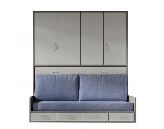 Sofa Cama Abatible Vertical Rldj Cama Abatible Horizontal De 90 105 Con sofà Y Armario Incorporado