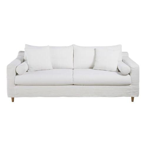 Sofa Cama Blanco Etdg sofà Cama De 4 Plazas De Lino Lavado Blanco Maisons Du Monde
