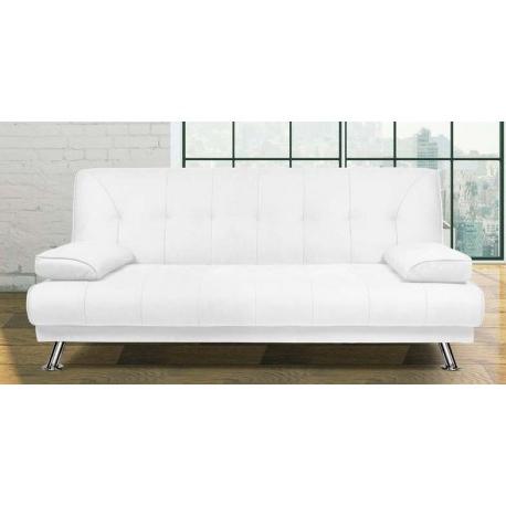 Sofa Cama Blanco Zwdg sofa Cama Sistema Libro Tapizado En Polipiel Patas Cromadas Blanco