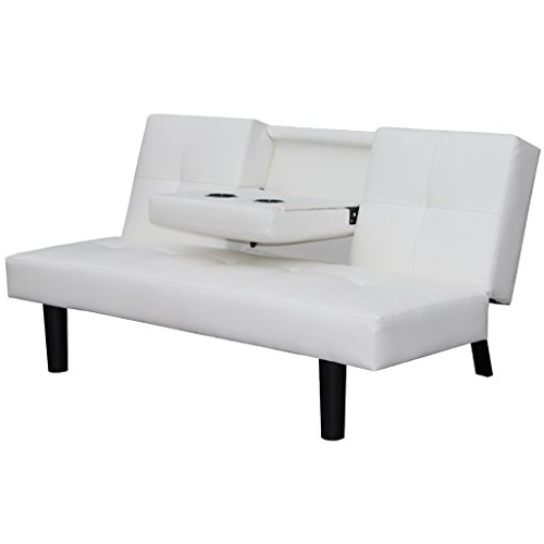 Sofa Cama Desplegable Irdz Festnight Mueble De sofà Cama Desplegable Con Mesa Blanco