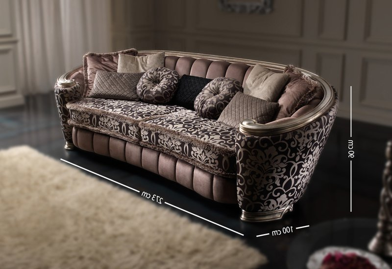 Sofa Confort 9fdy Glamour 4 Seat sofa Brown Silver Wood Art Deco and Classic