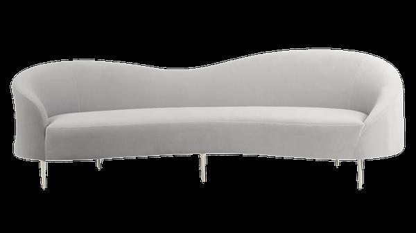 Sofa Curvo 0gdr Curvo Light Grey Velvet sofa Nova Light Grey