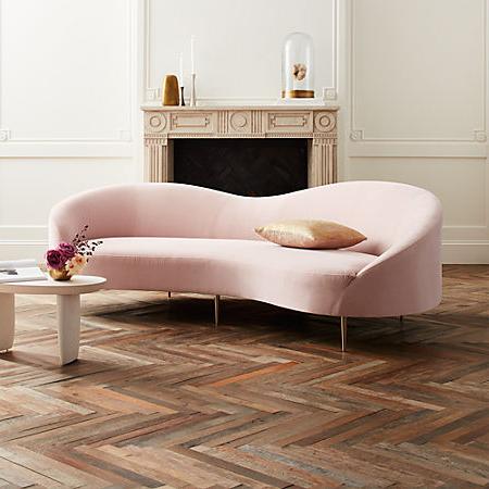 Sofa Curvo D0dg Curvo Pink Velvet sofa
