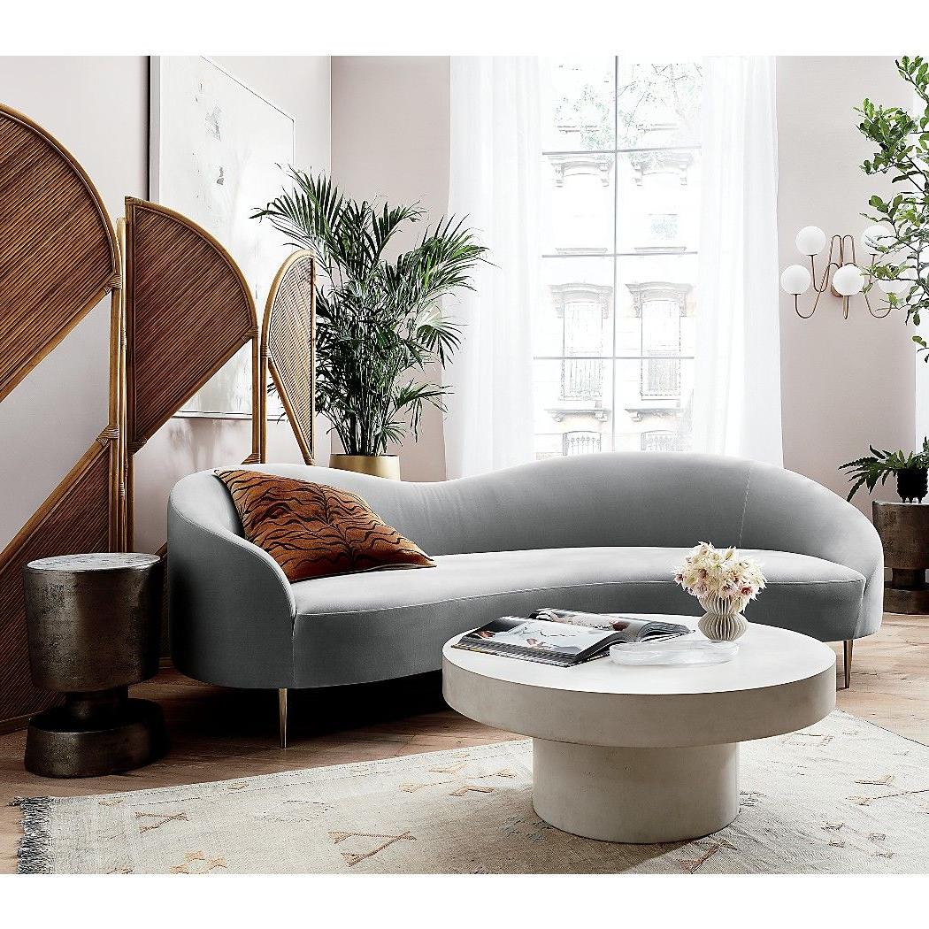 Sofa Curvo Mndw Curvo Light Grey Velvet sofa 154 Monroe Furniture