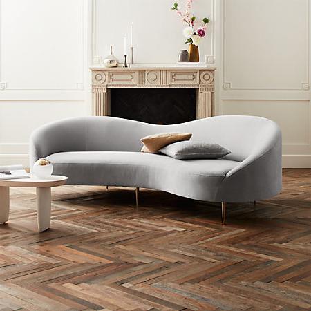 Sofa Curvo Tqd3 Curvo Light Grey Velvet sofa