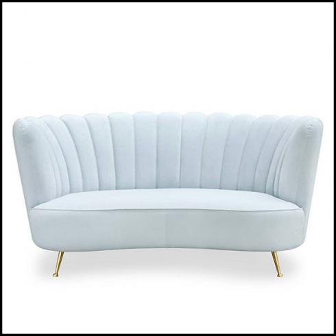 Sofa De Escai Ffdn sofa with Structure In solid Wood and Covered with Blue Sky Velvet
