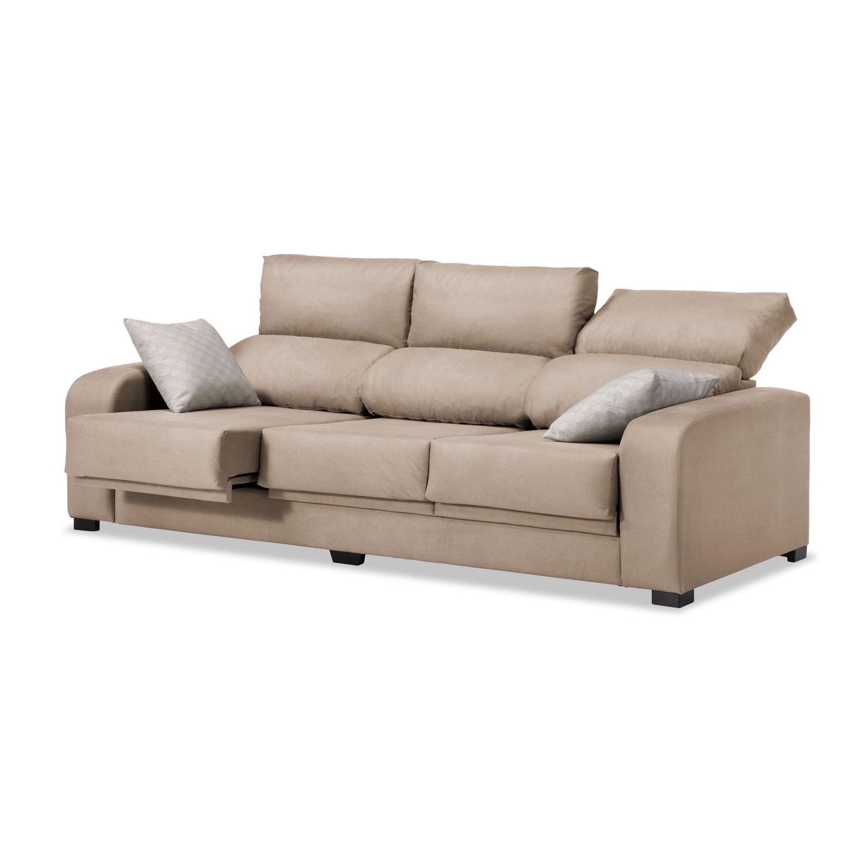 Sofa Extensible Txdf sofà 3 Plazas London Reclinable Extensible Desenfundable Beige 220 Cm