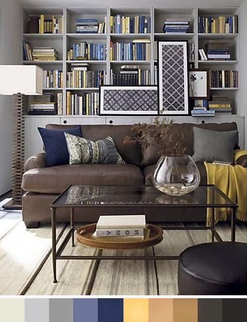Sofa Marron Chocolate Q5df sofa Chocolate Y Paleta De Color Gris Amarillo Y Azul Decoracià N