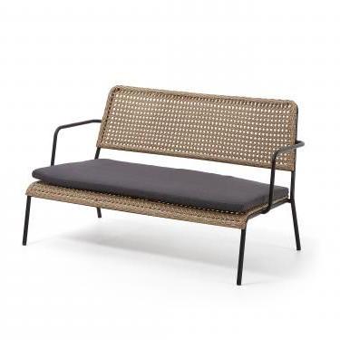 Sofa Mimbre Drdp Minha sofà 2 Plazas Metal Negro Mimbre Sintà Tico Nat