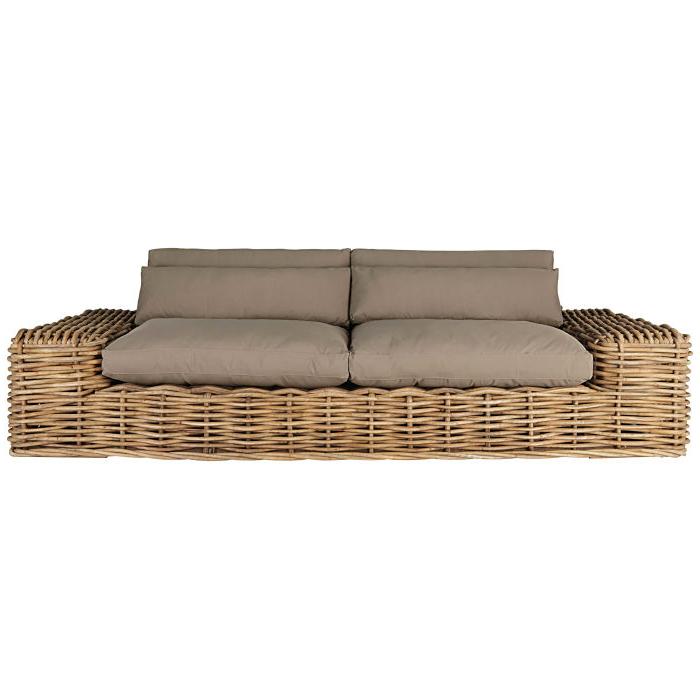 Sofa Mimbre E9dx sofà De Jardà N De 2 3 Plazas De Mimbre Y Cojines Marrones