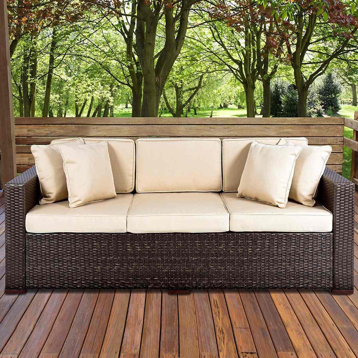 Sofa Mimbre Etdg sofa De 3 Plazas Exterior En Mimbre