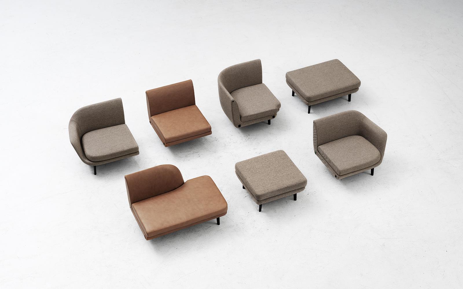 Sofa Modular Etdg Sum Modular sofa 4 Seater Corner Black Aluminum Main Line Flax