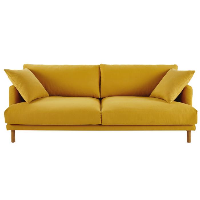 Sofa Mostaza Bqdd sofà De 3 Plazas De Algodà N Y Lino Amarillo Mostaza Raoul Maisons