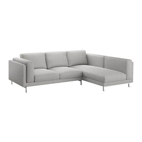 Sofa Nockeby 9ddf Nockeby sofa with Chaise Left Tallmyra White Black Chrome Plated