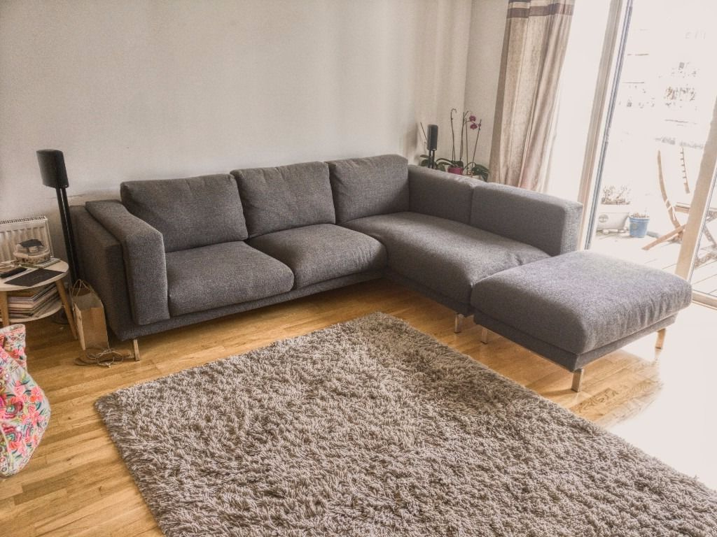 Sofa Nockeby Ftd8 Ikea Nockeby Grey Fabric Corner sofa Chaise and Footstool Under