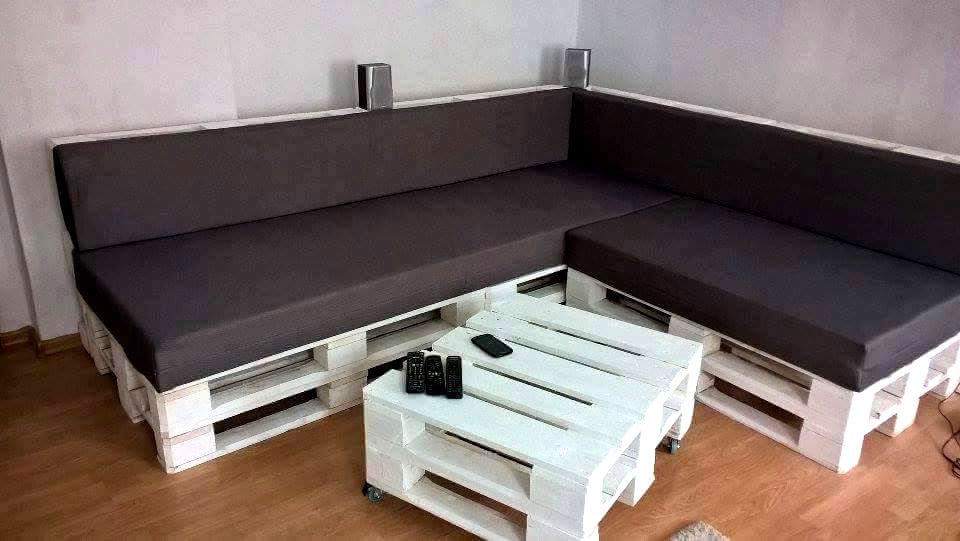 Sofa Pallet S5d8 Diy Black White Pallet Sectional sofa Set 101 Pallets